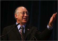 U.S. Interior Secretary Ken Salazar, seen here speaking in San Franciso on offshore drillng on April 16, has announced $500 million in federal stimulus funds will go to American Indian tribes.