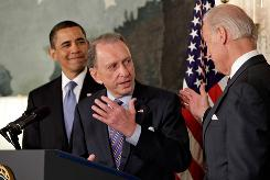 Sen. Arlen Specter of Pennsylvania talks about his Democratic allegiance Wednesday with President Obama and Vice President Biden.
