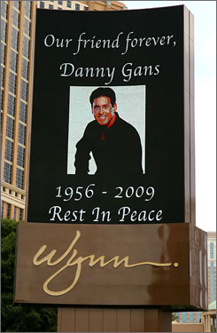 Entertainer Danny Gans is being memorialized on the Las Vegas strip at the Encore on Friday.  Gans, 52, died in his sleep on Friday.