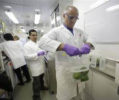 Microbiologist Steve Torosian tests a bag of bell peppers in one of the trailers of the Food and Drug Administration's $3 million mobile food-safety lab.