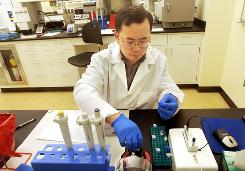 Scientist Gongping Liu sets up a sequencing test with suspected flu samples as they look for the H1N1 swine flu virus at the Minnesota Public Health Laboratory in St. Paul