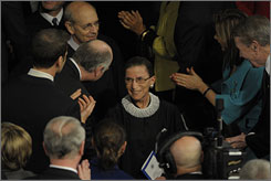 "Eleven days after surgery for cancer, Supreme Court Justice Ruth Bader Ginsburg attended President Obama's speech to Congress on Feb. 24, in part because ""I wanted people to see that the Supreme Court isn't all male."""