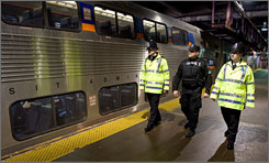 Amtrak Police patrol a train platform at Union Station in Washington, D.C.