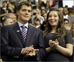 Bristol Palin and her then-boyfriend Levi Johnston smile at the Republican National Convention in St. Paul on Sept. 3.