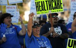 Hundreds of nurses, physicians, school employees, patients and health care activists rally for reform this month in Los Angeles.