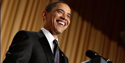 President Obama smiles as he pokes fun at politicians, the press and himself at the annual White House Correspondents' Association Dinner on Saturday in Washington.