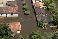 An aerial view of the flooded town of Boa Vista do Gurupi, Maranhao state, Brazil.