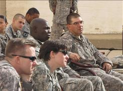 Troops are taught how to deal with stress in February at Camp Liberty. A counseling center on the base was the scene of a shooting Monday.