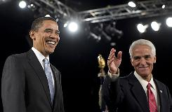 Florida Gov. Charlie Crist introduces President Obama at a town-hall-style meeting Feb. 10 in Fort Myers. The moderate Republican governor announced his run for the U.S. Senate on Tuesday in Tallahassee.