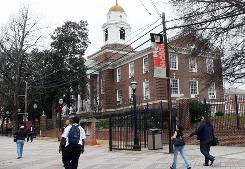 People walk on the Clark Atlanta University campus in Atlanta. Enrollments at historically black colleges have declined while endowments have dropped and fundraising sources have dried up during the nation's economic meltdown.