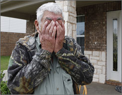 In Sherman, Texas, an emotional Wilburn C. Russell, 73, talks about the stress his son, Sgt. John Russell, faced before the sergeant was accused of killing five fellow troops.
