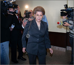 Former U.S. surgeon general Antonia Novello, seen here in county court in Albany on Tuesday, has pleaded not guilty to charges that she forced New York state employees to work overtime and handle personal chores for her when she was the state health commissioner.
