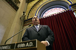 Assemblyman Daniel O'Donnell, D-New York, debates his same-sex marriage bill in the Assembly Chamber at the Capitol in Albany, N.Y., on Tuesday.