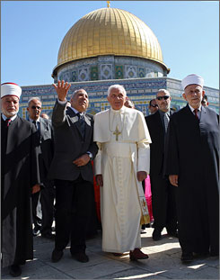 Pope Benedict XVI visited the Dome of the Rock in Jerusalem on Tuesday. Jews believe it is built on the site where Abraham prepared to sacrifice Isaac, while Muslims believe it is the place where the Prophet Muhammad ascended into heaven.