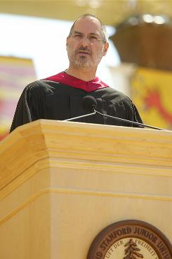 Apple Computers CEO Steve Jobs speaking at the graduation ceremonies at Stanford University, June 12, 2005.