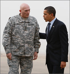 President Obama has told Gen. Ray Odierno, left, commander of U.S. troops in Iraq, that he does not want to release dozens of new photos that show U.S. military members allegedly abusing detainees in Iraq and Afghanistan. Here, the two are seen together on April 9 in Baghdad.