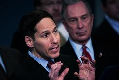 New York City health commissioner Thomas Frieden addresses the swine flu outbreak next to NYC mayor Michael Bloomberg on April 27. Frieden will begin as CDC chief in June.