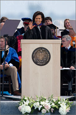 First lady Michelle Obama delivers the commencement speech at the University of California  Merced, Saturday in Merced, Calif. The 500 graduating students was the first graduating class.