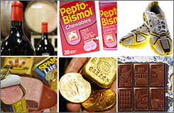 Sales of chocolate and running shoes are up. Wine drinkers haven't stopped sipping, either. Gold coins are selling like hot cakes, and strong sales of Spam helped Hormel Foods Corp. post an increase.