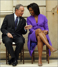First lady Michelle Obama chats with New York City Mayor Michael Bloomberg at a ribbon cutting ceremony at the Metropolitan Museum of Art in New York.