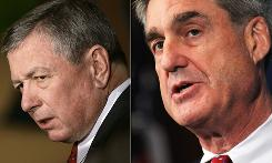 Javaid Iqbal tried to sue former attorney general John Ashcroft, left, and FBI Director Robert Mueller, saying he was subjected to harsh conditions because of his race and religion.