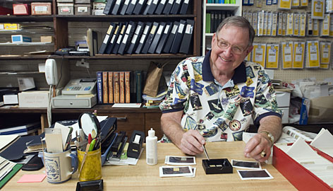 """Leland Bell, 77, a retired Louisville chemist and stamp collector for most of his life, recalls how he and his fellow hobbyists freely used """"carbon tet"""" to detect forgeries."""