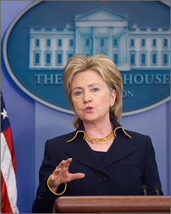 Secretary of State Hillary Rodham Clinton on Tuesday explained details of the United States' planned $110 million emergency humanitarian aid package to Pakistan. Here, Clinton is seen making the announcement at the White House.