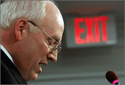 Former vice president Cheney defended the national security policies of former President Bush in a speech at the American Enterprise Institute headquarters in Washington.