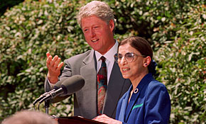 President Clinton poses with Supreme Court nominee Ruth Bader Ginsburg