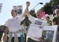 The California Supreme Court will rule Tuesday on whether Proposition 8 was a valid amendment to the California Constitution. Dozens rallied on March 30 against Proposition 8 in Sacramento, California to protest the elimination of the right of same-sex couples to marry.