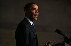President Obama, seen here speaking at the National Archives in Washington on Thursday, vigorously defended his push to close the U.S. detention center at Guantanamo Bay, Cuba.