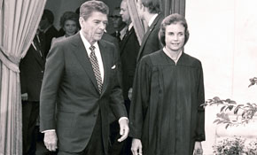 President Reagan presents the high court's first female justice, Sandra Day O'Connor