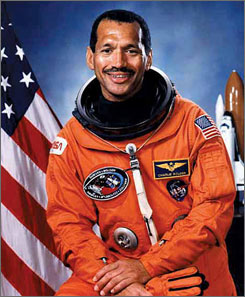 Bolden, a former Marine aviator who became an astronaut in 1980, flew into space four times and commanded the shuttle twice.