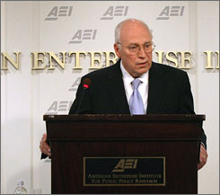 Former vice president Dick Cheney spoke at the American Enterprise Institute in Washington D.C. Thursday.