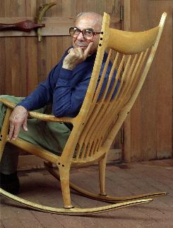 This July 6, 1994, photo shows Sam Maloof sitting in one of his rocking chairs inside his home, which he built in Rancho Cucamonga, Calif.