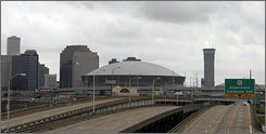 As far as tourism and economic development officials are concerned, the sports industry, and the events at the Louisiana Superdome seen here, has fueled the economic and psychological recovery from Hurricane Katrina as much, if not more, than New Orleans' world renowned music and fine dining scenes.