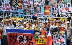 South Koreans protest against Kim Jung Il in Seoul on Monday, May 25.