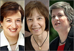 Solicitor General Elena Kagan, left, federal judge Diane Wood, middle, and Homeland Security Secretary Janet Napolitano, right,  were President Obama's other finalists, outside of Judge Sonia Sotomayor, for the U.S. Supreme Court, officials say.