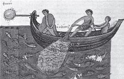 Ocean oldies: A Byzantine image from the 11th century depicts night fishing with a lamp and a net.