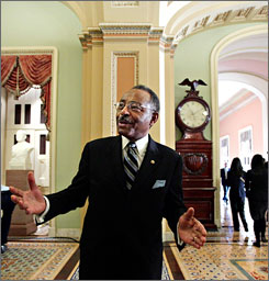 Sen. Roland Burris, D-Ill., said Wednesday that he was not trying to strike a deal when he talked to the brother of former Illinois Gov. Rod Blagojevich about being appointed to the Senate. Here, Burris is seen talking to reporters on Capitol Hill in Washington on March 25.