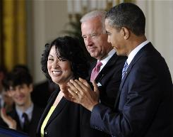 President Obama, Vice President Biden were on hand Tuesday for the introduction of Supreme Court nominee Sonia Sotomayor at the White House.
