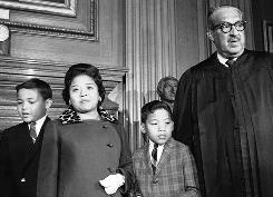 Thurgood Marshall, with wife and sons, broke the color barrier when he became the first black Supreme Court justice on Oct. 2, 1967.