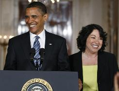 President Obama arrives with Judge Sonia Sotomayor, his nominee to the Supreme Court, on May 26 in the White House.