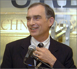 A federal grand jury has subpoenad records of Rep. Pete Visclosky, D-Ind., in an investigation into a lobbying firm that steered congressional earmarks to defense contractors. Here, Visclosky is seen taking part in the opening of a technology center in Merrillville, Ind., in January 2005.