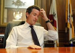 San Francisco Mayor Gavin Newsom answers a question during an interview on Tuesday after the California State Supreme Court upheld the state's ban on gay marriage.