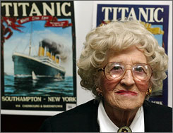 Millvina Dean was just over 2 months old when the Titanic sank less than three horus after hitting an iceberg off Newfoundland April 14, 1912.