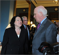 Supreme Court nominee Sonia Sotomayor met with Sen. Patrick Leahy, D-Vt., chairman of the Senate Judiciary Committee, on Tuesday as part of her slate of meetings with lawmakers on Capitol Hill.