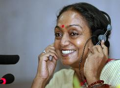India's newly elected parliament speaker Meira Kumar talks during a news conference in New Delhi on Wednesday. Kumar was elected unopposed and immediately assumed her post.