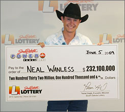 "Neal Wanless promised not to ""squander"" his $232.1 million Powerball winnings after he thanked ""the Lord for this opportunity."""