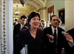 Sen. Susan Collins, R-Maine, was one of three Republicans who voted for the economic stimulus.